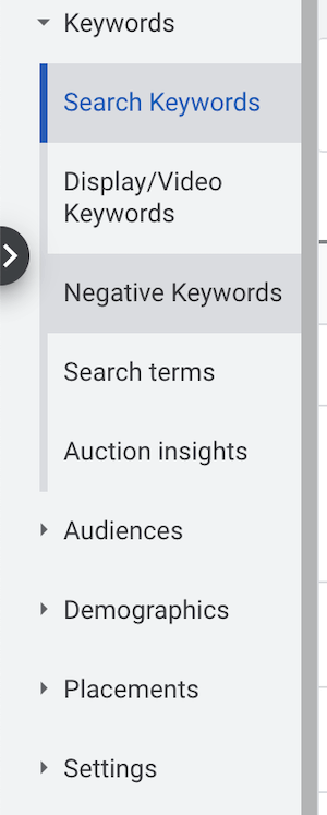 negative keywords menu