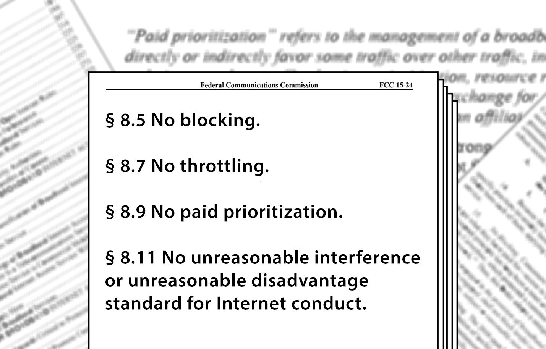 Net neutrality principles no blocking no throttling