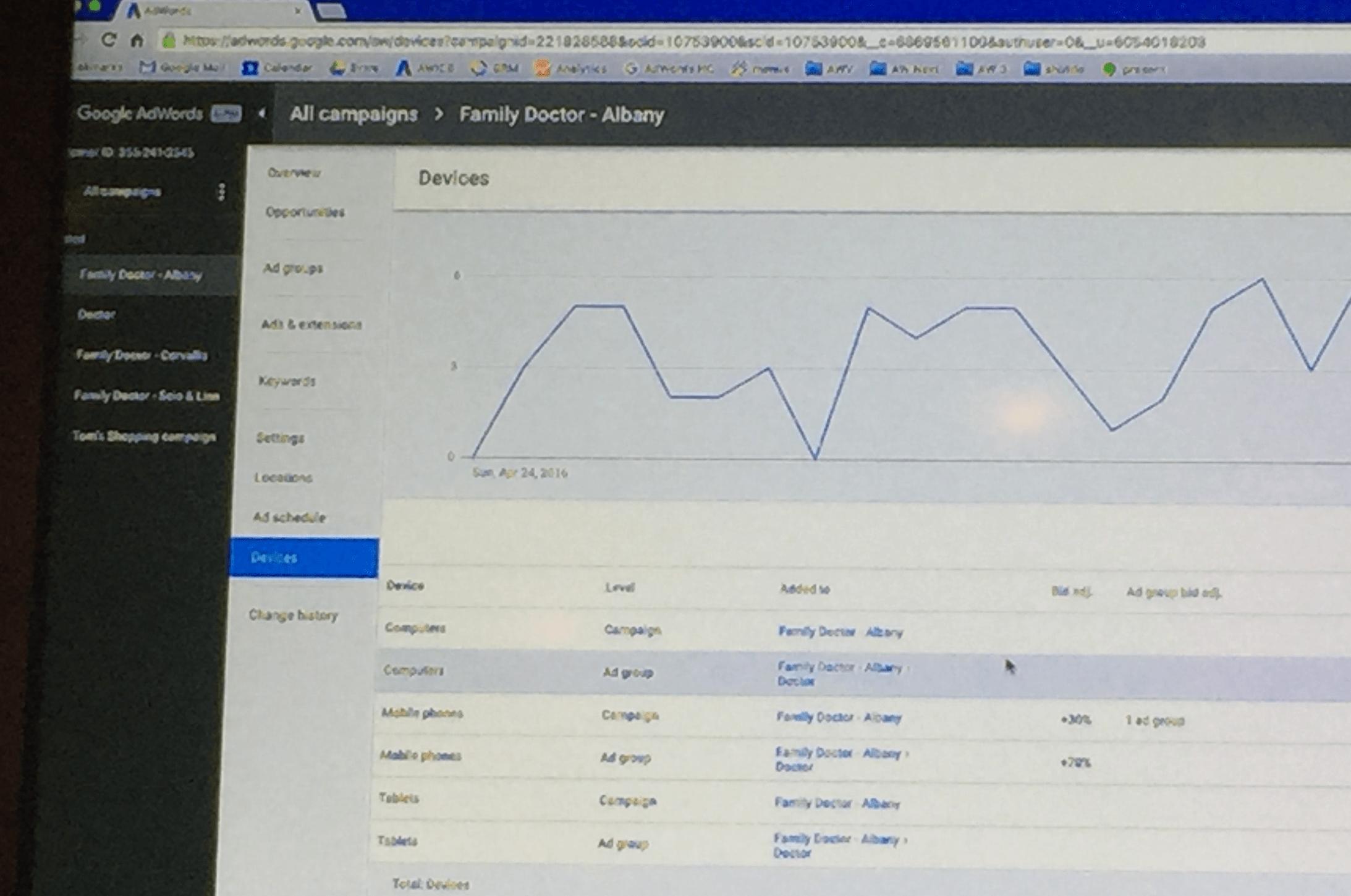 New AdWords interface device summary