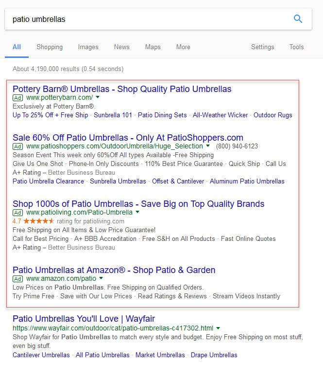 Online advertising costs Google SERP example