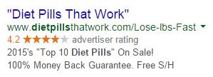 PPC ad headlines diet pill ad