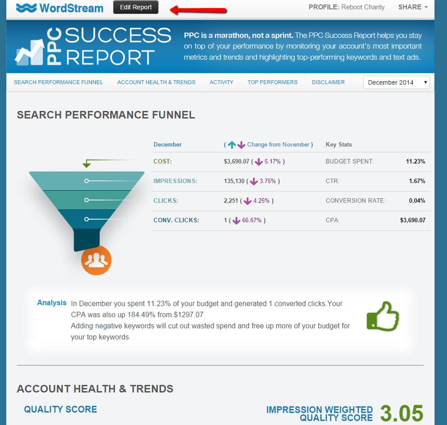 ppc agency strategies screenshot of wordstream's success report