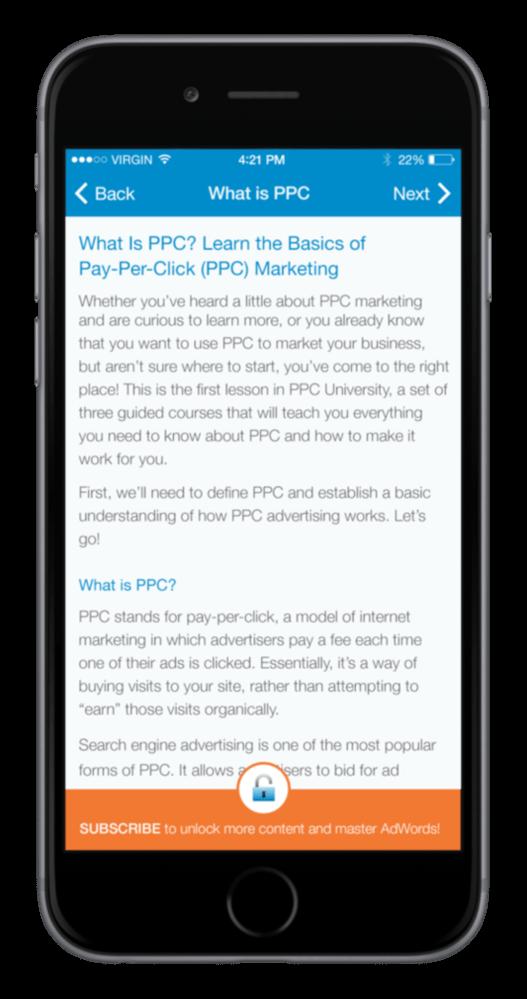 PPC University app navigation