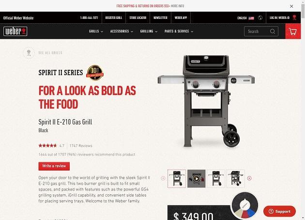 product description for a Weber grill