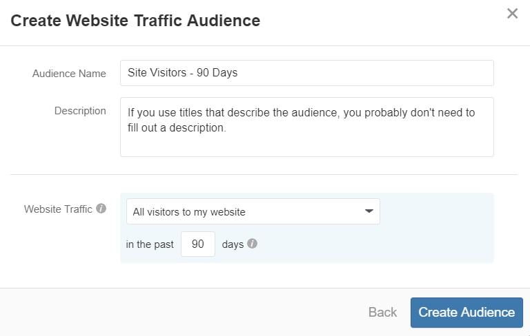 "Quora Ads audience ""Create Website Traffic Audience"""