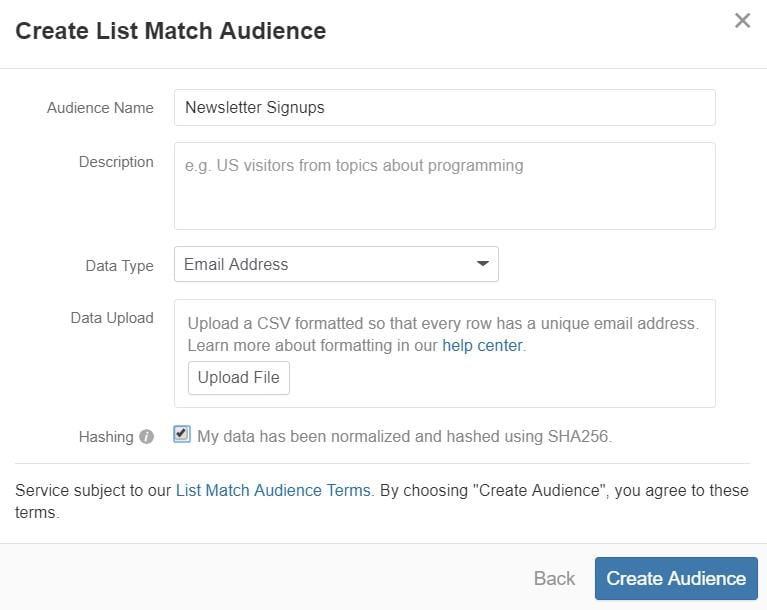 "Quora Ads audience ""Create List Match Audience"""