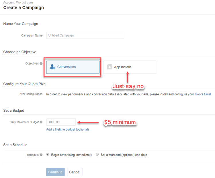 quora ads campaign creation
