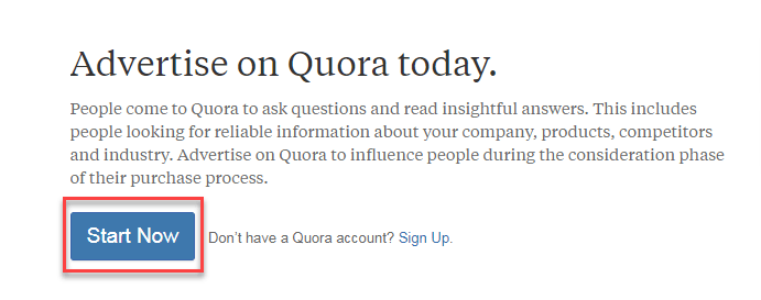 quora ads start now button