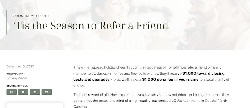 referral marketing ideas—holiday referral program