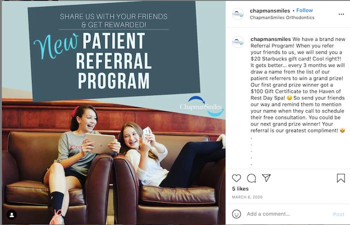 referral marketing ideas—patient referral instagram post