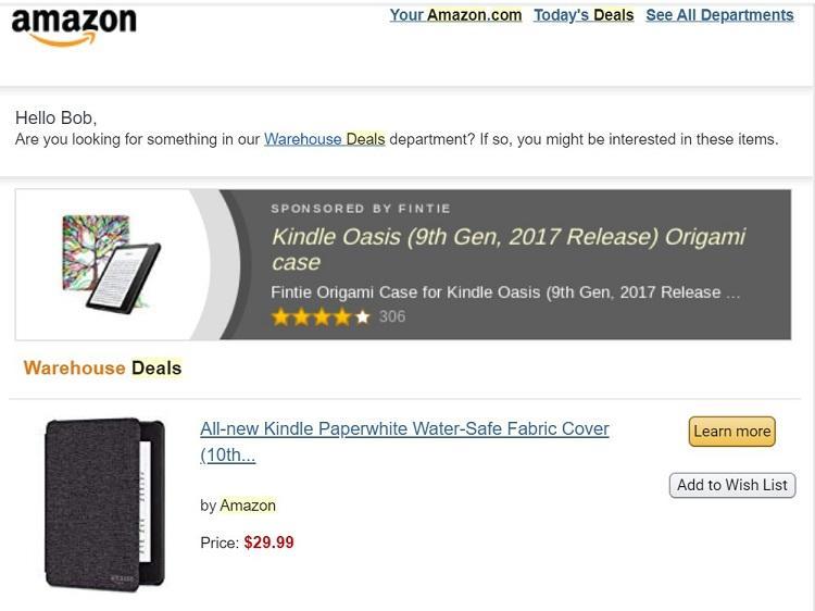 Amazon remarketing ads email