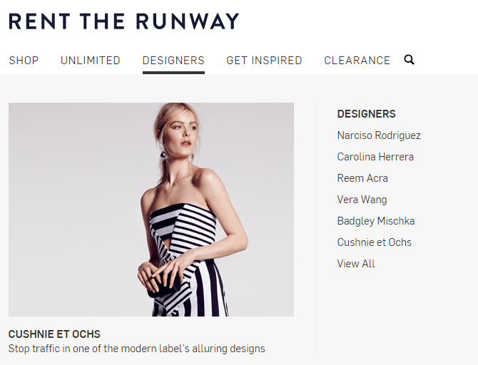 Retail marketing image showing rent the runways website