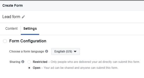facebook lead gen campaign settings