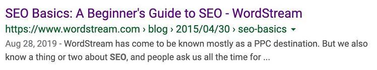 SEO basics search result