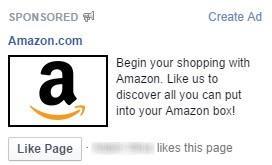 Social media advertising Amazon Facebook ad