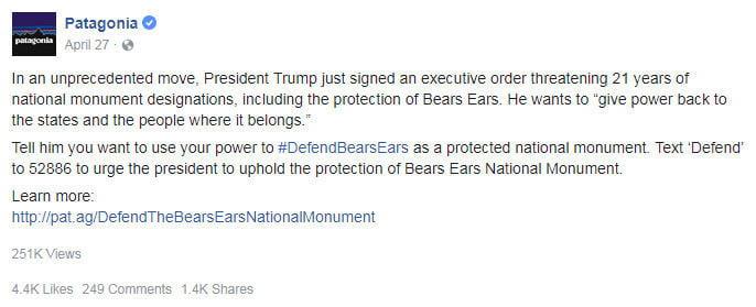Social media crisis management Patagonia Bears Ears monument response Facebook
