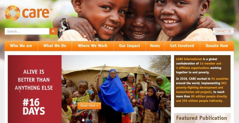 Social media for nonprofits Care International homepage