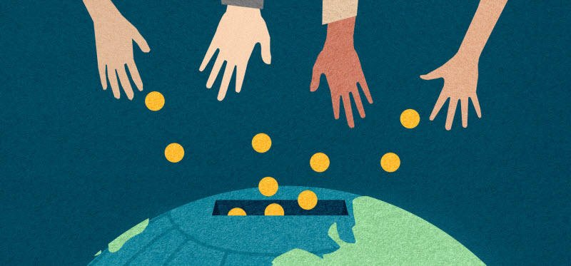 Social media for nonprofits charitable giving concept illustration