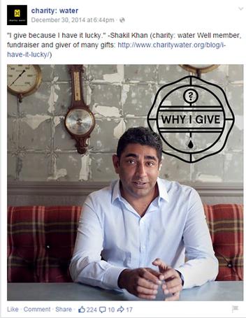 social media marketing plan charitywater facebook post