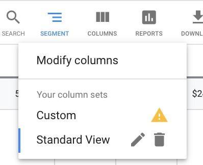 """modify columns"" screen"