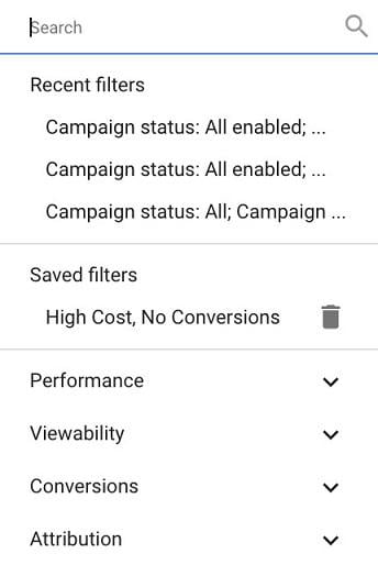 "Google Ads ""save fitler"" screen"