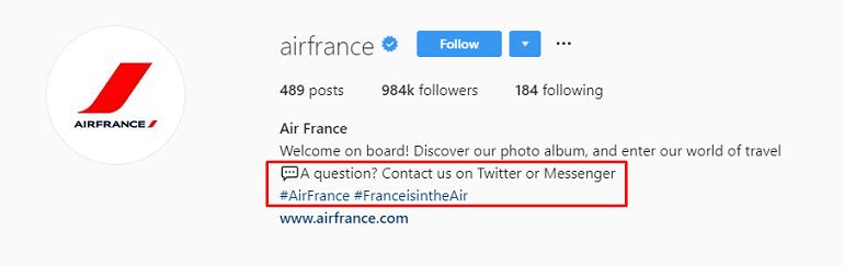 Air France Instagram bio