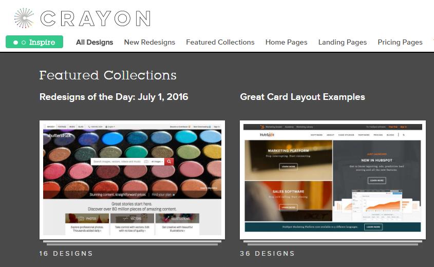 Web design inspiration Crayon.co