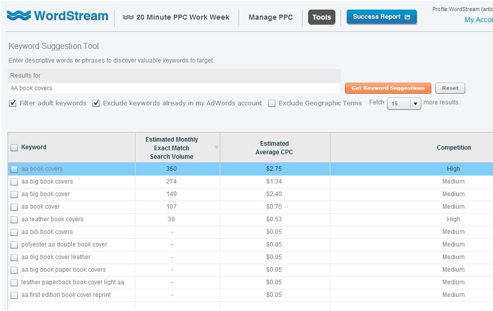 WordStream PPC Keyword Tool