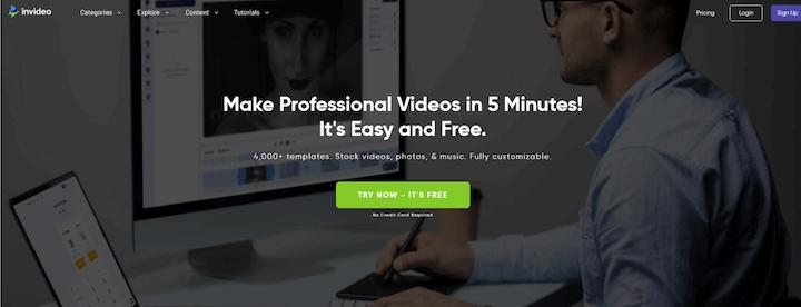 invideo youtube video creator homepage