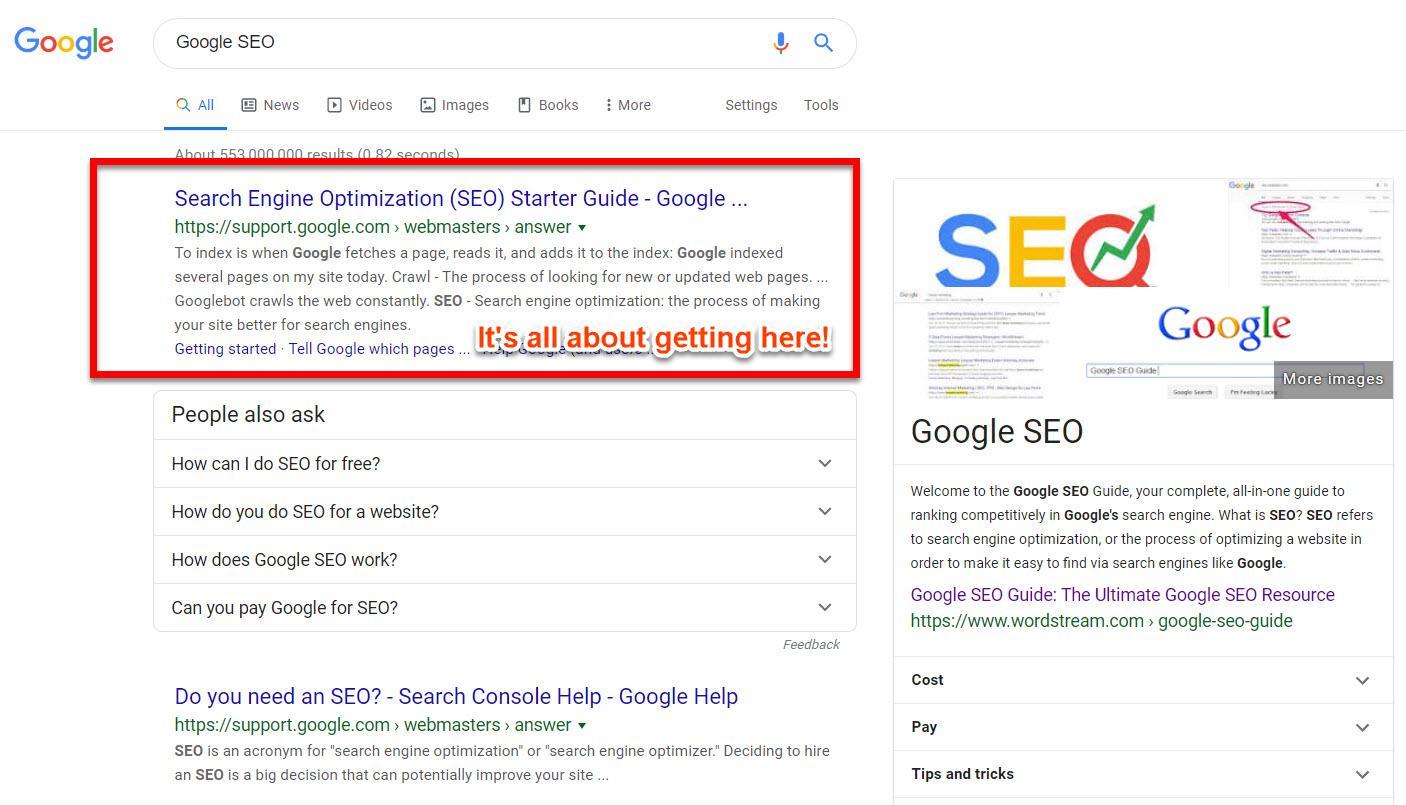 Google SEO Guide Search Results