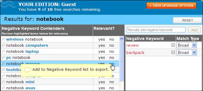 Negative keyword tool