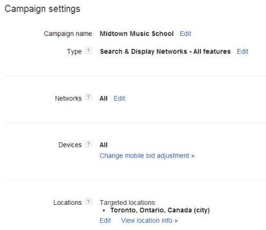 AdWords optimization geolocation settings menu