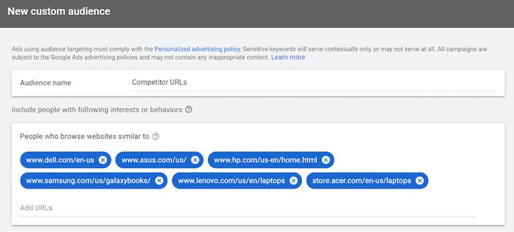 google ads custom audience creation using competitor URLs