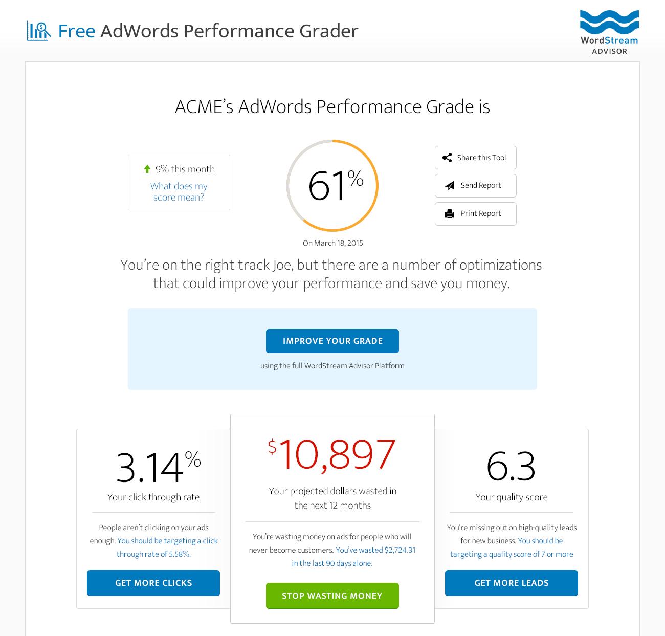 Search engine marketing AdWords Performance Grader