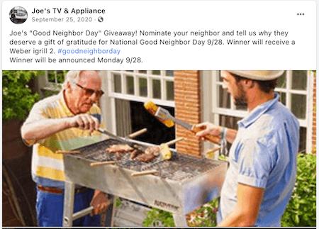 september marketing ideas - good neighbor day facebook giveaway