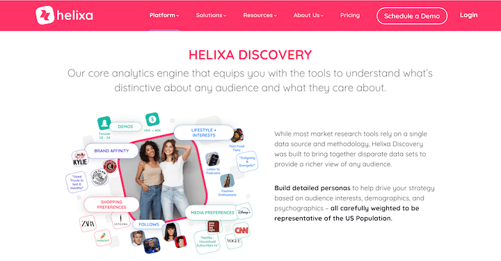 ai marketing tool helixa homepage