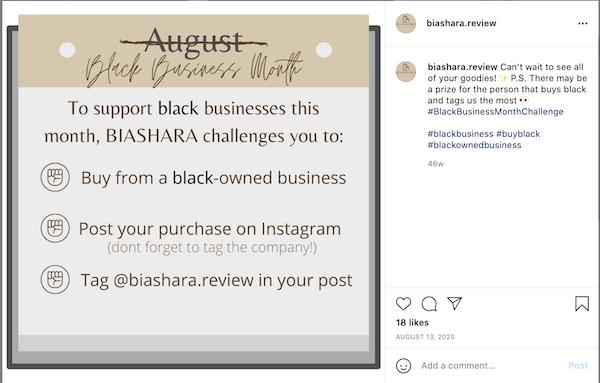 august marketing ideas—black business month instagram post