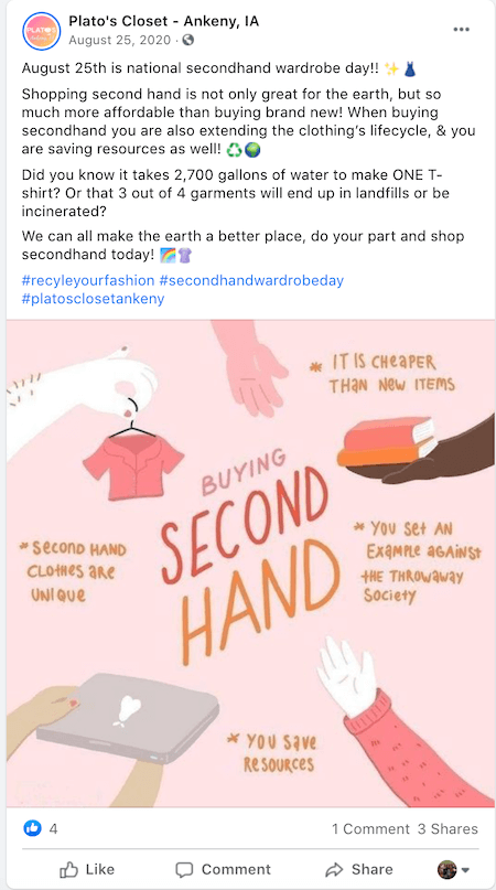 august marketing ideas—national secondhand wardrobe day facebook post