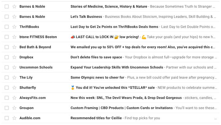 b2b email marketing—noisy inbox screenshot