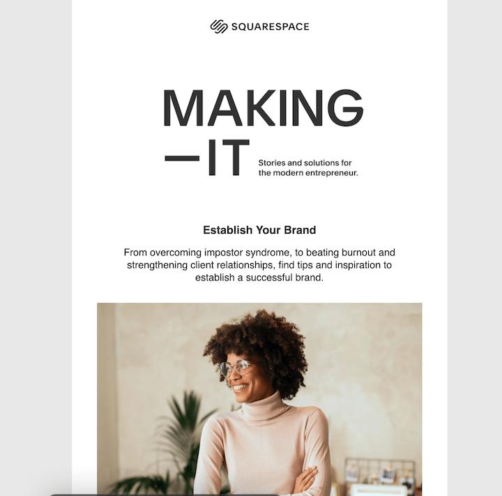 squarespace b2b email marketing example