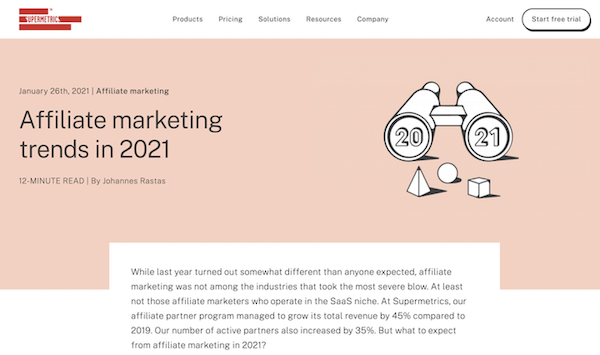 supermetrics blog post on affiliate marketing trends