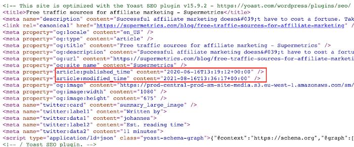 page modified time meta data