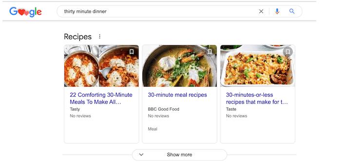 recipe results for google search