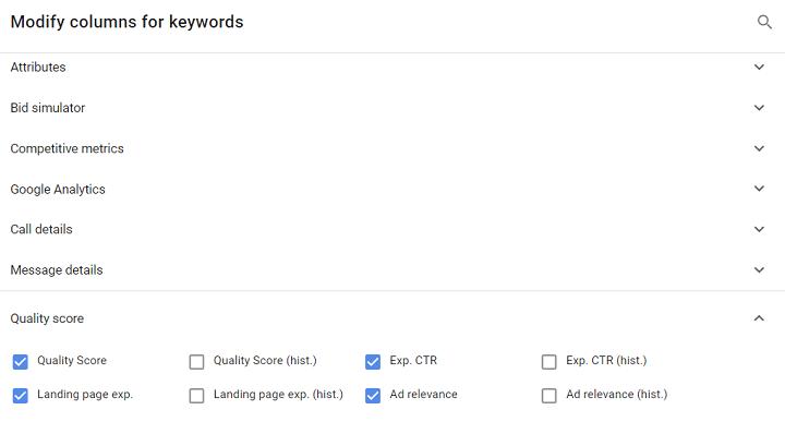 google ads quality score custom column