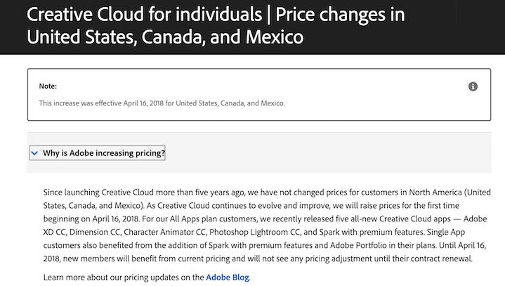 price increase FAQ page