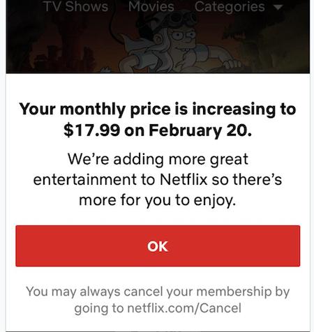 netflix price increase in-app notification