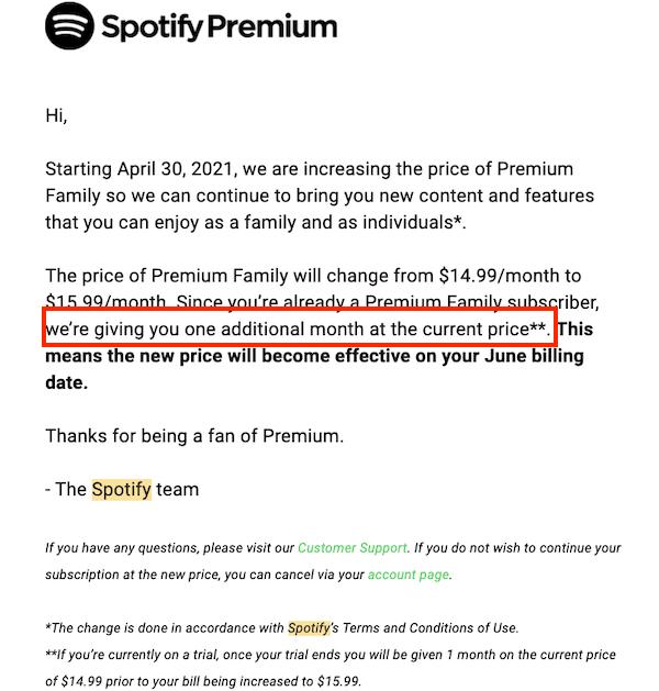 spotify price increase email to premium member