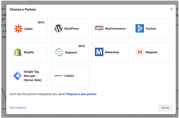 facebook partner integrations for setting up facebook conversions API