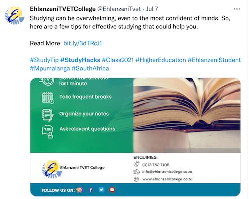 twitter post with hashtag #studyhacks