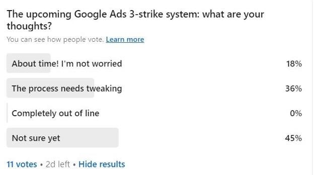 linkedin poll about google ads three strike policy pilot